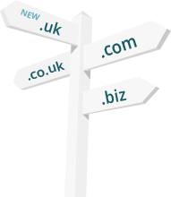 Sign post to show the variations of domain extensions